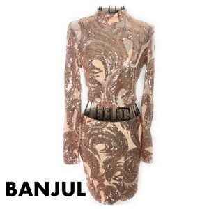 BANJUL Rose Gold Sequin Long Sleeve and Skirt Set